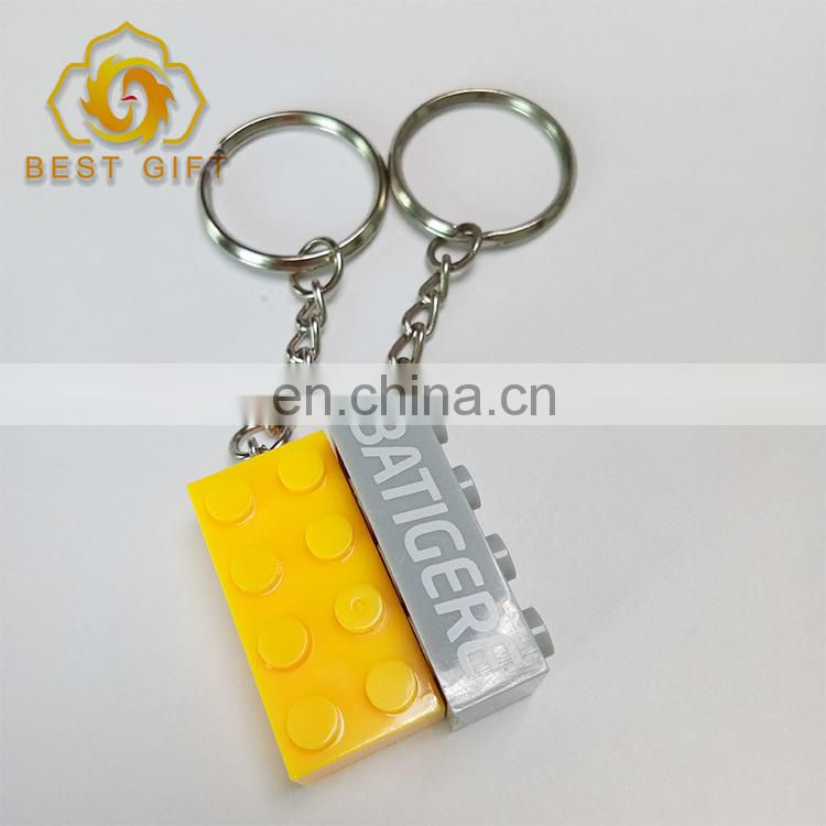 Hot Sale Plastic Lego Building Blocks Keychains With Logo