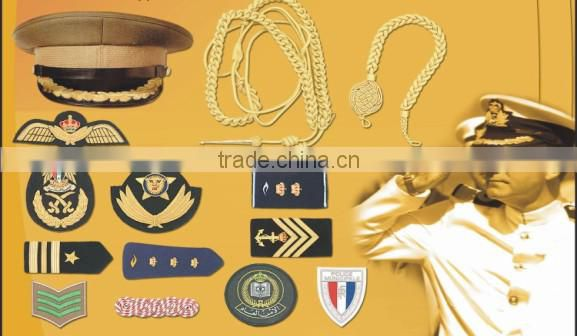 Embroidery Patche cap Rank Shoulder Hand Machine Bullion thread Emblem Insignia Blazer Badges