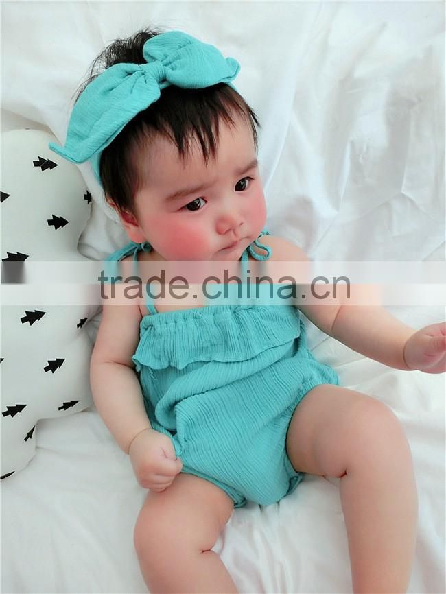 2016 Summer Baby Infant Children's Clothing Baby Girl Clothes Sling Pure Color Jmpsuit Ruffle Cotton Rompers