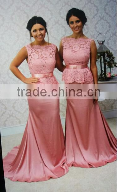 New Design Elegant Cheap Cap Sleeve Peach Patterns Mermaid Lace weddings Bridesmaid Dresses Long CWFb1832