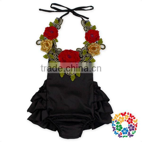Wholesale Solid Color Ruffle Halter With Embroidery Flower Romper Baby Cotton Jumpsuit