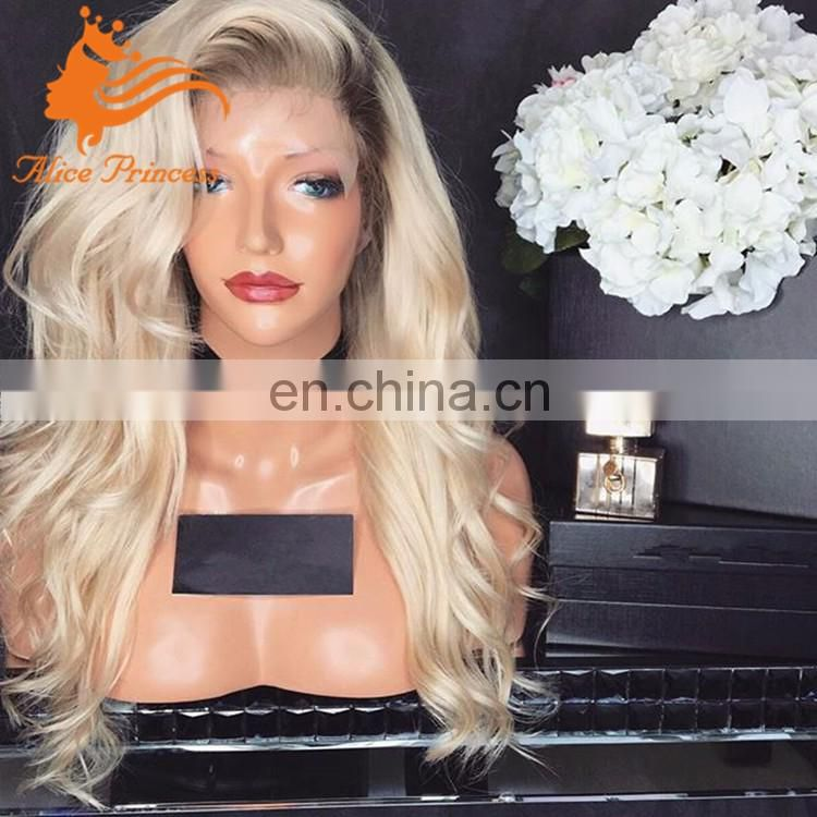 Wholesale cheap ombre color 1b/60 blonde remy indian human hair full lace wig for sale