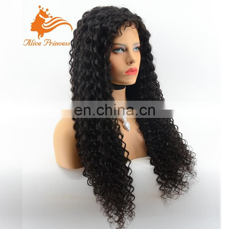 Popular long indian 150 density virgin human hair kinky curly wigs with bang