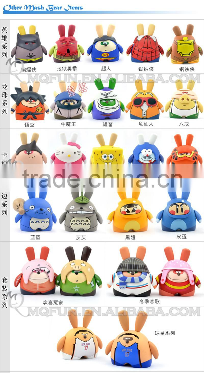 Mini Qute Mask Bear 10cm Shocked Beibei Rabbit Kawaii plastic animal action figures Cartoon toy car Decoration doll model