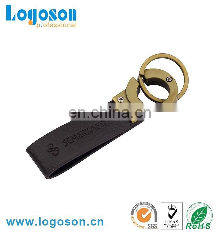 China Factory maker promotional metal custom keychain leather keyring