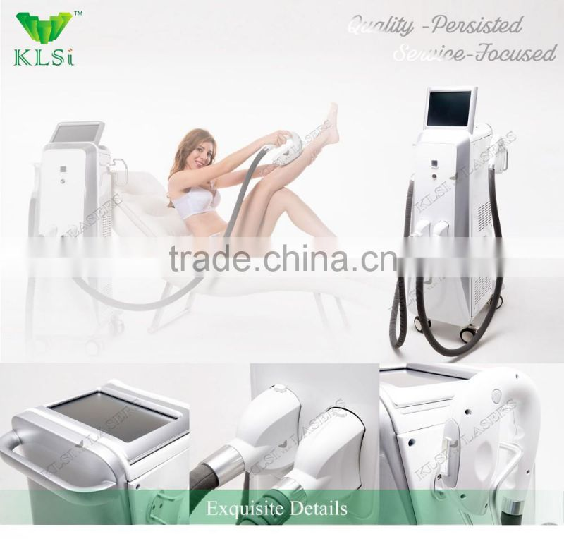 High power ipl hair removal machine/double system ipl shr laser elight hair removal medical machine