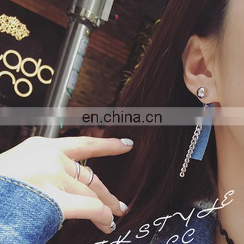 2017 Ladies fashion Personality Metal chain Denim earrings
