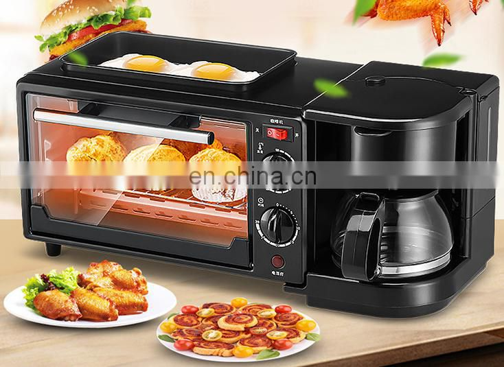 Hot sale 3 in 1 breakfast making machine egg frying coffee maker toast oven with toughened glass doors