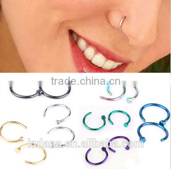 NR9103 Hot Sale Medical Titanium Nose Hoop Nose Rings Body Piercing Jewelry 7 Colors Body Jewelry