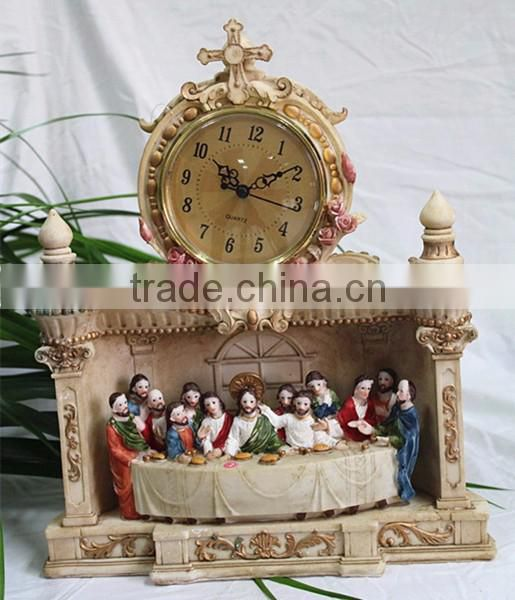 Religious theme The Last Supper jesus statue table clock