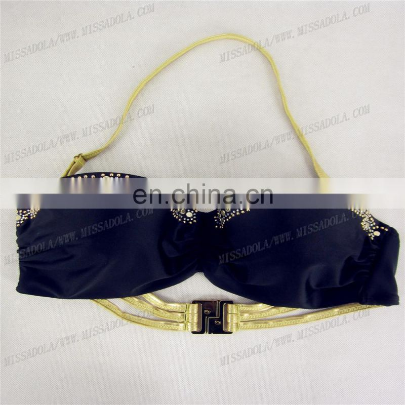 MissAdola 2015 golden paillette women swimwear mature girl bikini with strings bra