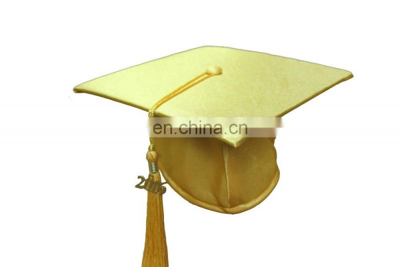 2016 Gold Polyester Graduation Cap With Tassel
