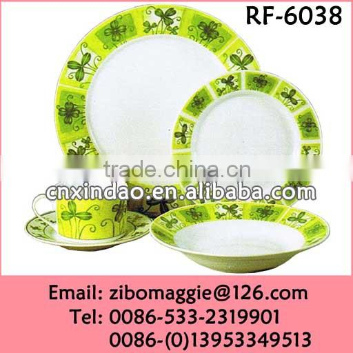Round Shape Custom Print Hot Sale Porcelain China Dinner Set Made In Zibo
