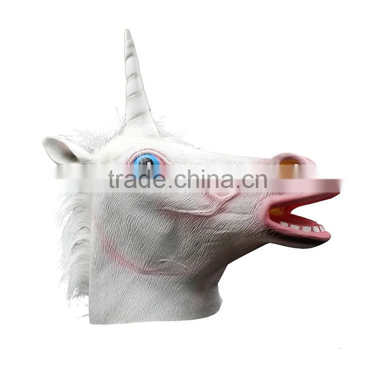 Wholesale Birthday Party Supplies Creepy Halloween Costume Rubber Animal Unicorn Head Mask