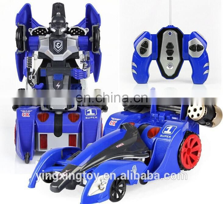 2014 the best sale remote control deformation robot car with light and music shooting soft arrow