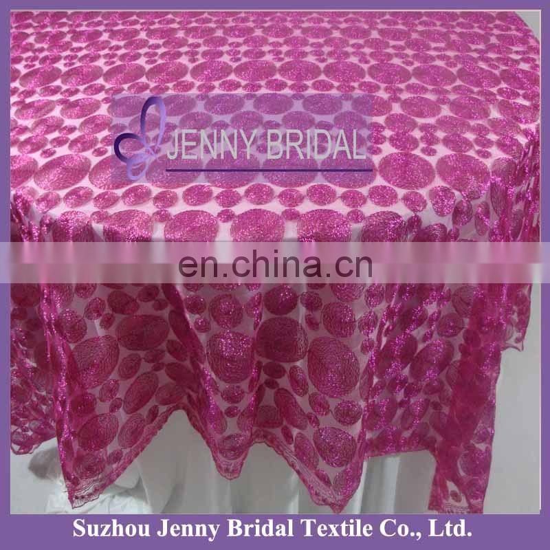 TL009E fancy wedding table cloth overlay custom table cloth