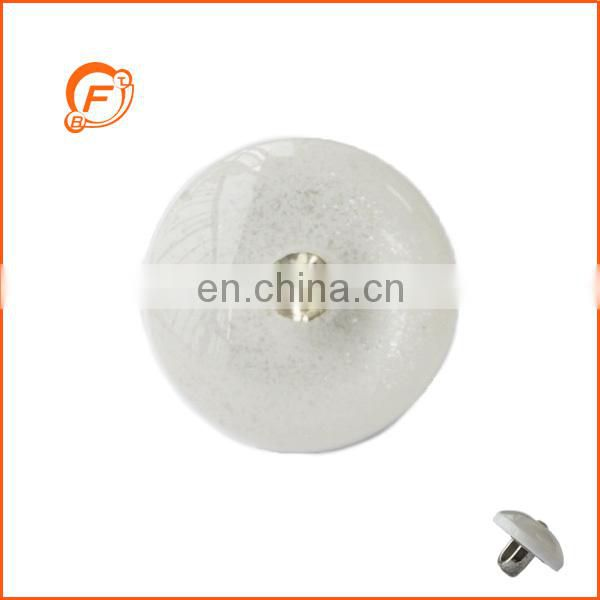 classical resin and abs white combined shank button