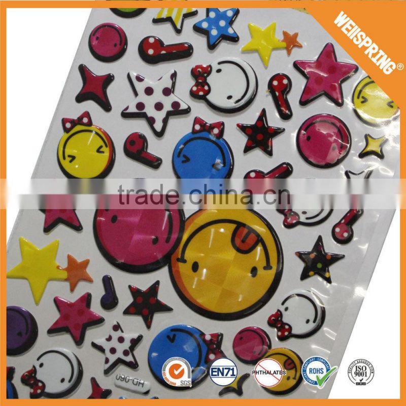 Hot sale none-toxic 3d glitter cartoon character puffy sticker