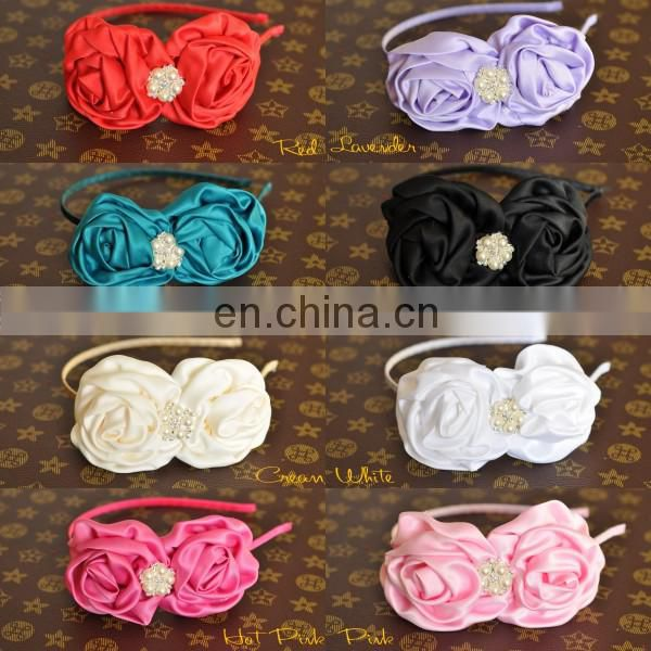 Double Silk Satin Rose Flower Pearl center with Metal Headbands For Toddlers Kids