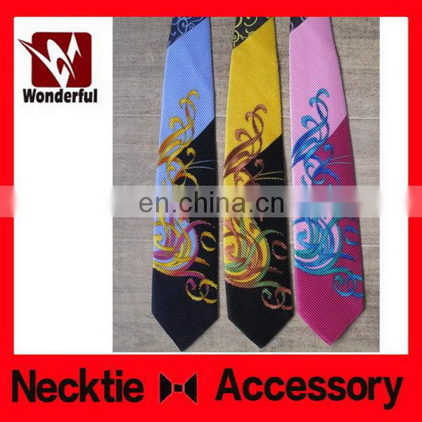 Cheap new coming woven yellow print necktie