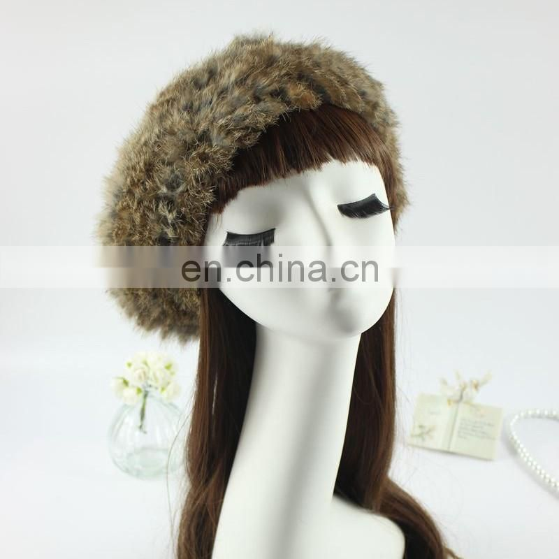 Hugely popular women knitted hats genuine rabbit fur hand made hats