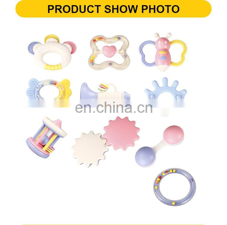 Hot sales plastic toys the wholesale baby rattles 10pcs