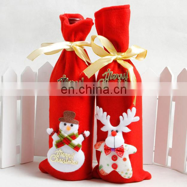Merry Christmas red wine bottle cover bags ,Christmas home party decoration cover for bottle