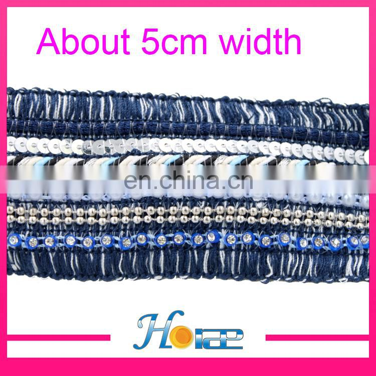 Wholesale braided webbing trim for shoe beaded lace trim for garment