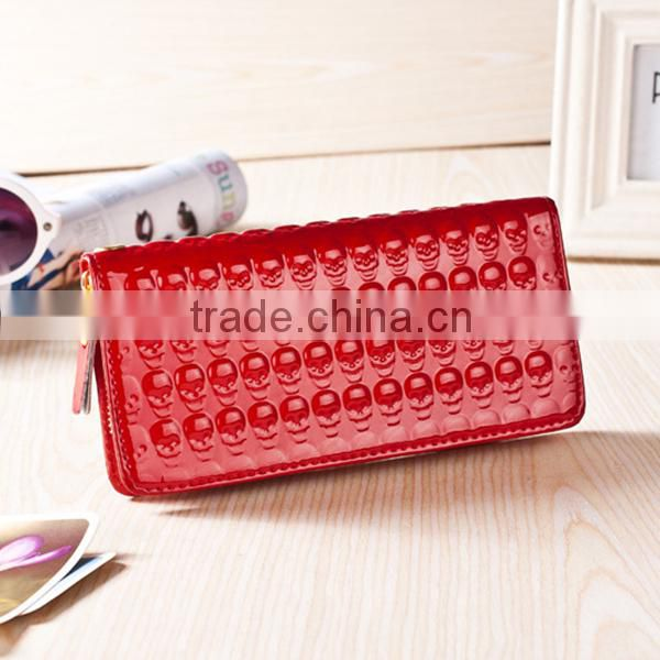 Stock Wholesale Green Red Blue Black Pink Orange Skull Stamp Pantent PU Leather Zipper CrossBones Wallet