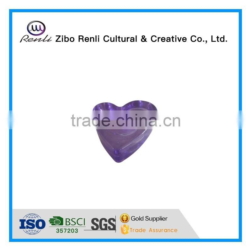 Purple Crystal Heart Shape Glass Tealight Candle Holder for Wedding