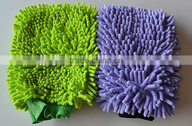 Microfiber colored chenille car wash glove