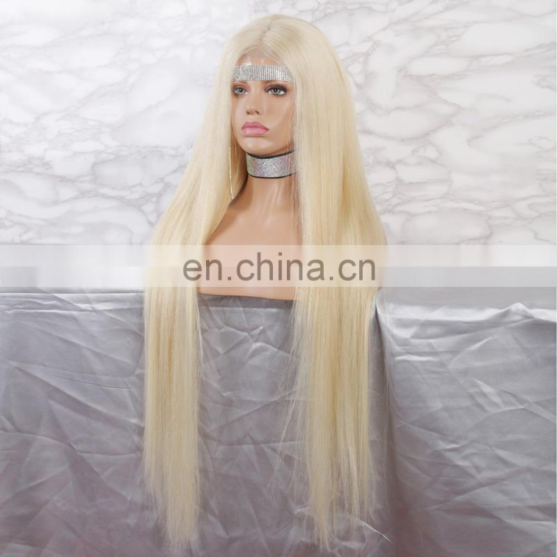 32 inches #613 #60 color straight high density smoothly human hair lace front wig