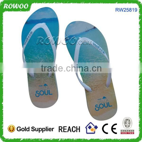 Spain Customized Sunset printing rubber flip flops