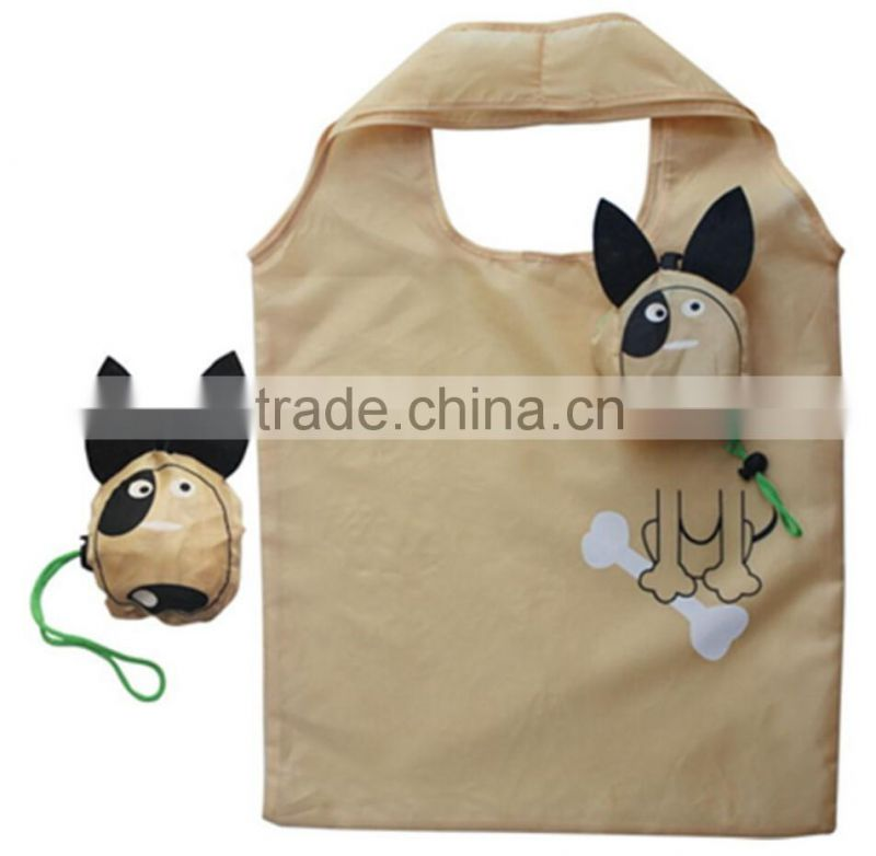 folding,Handled Style and polyester,dog shape Polyester Material foldable shopping bag