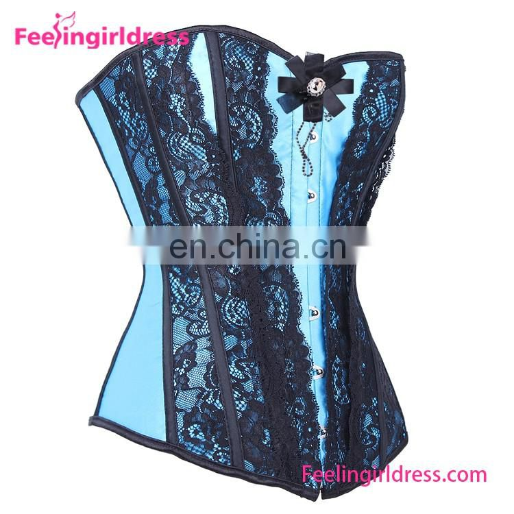 Sexy Blue Overbust Corset Lady Lingerie Lace Bustier Crop