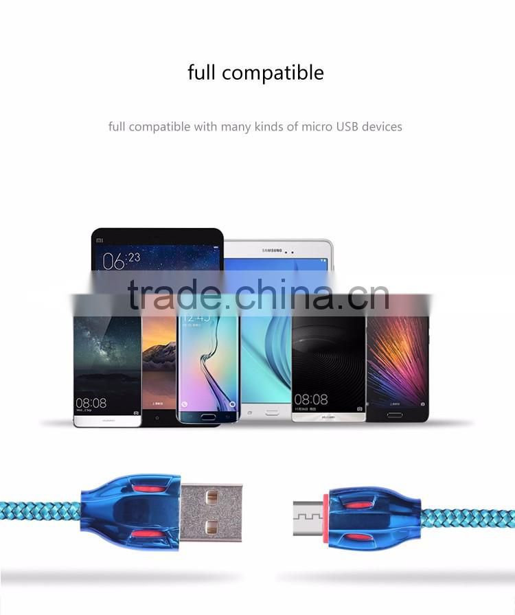 2016-2017 High Quality Fashion Speed Up 30% Quick Charging Colorful Snake Skin USB Micro Cable For Smart Phone