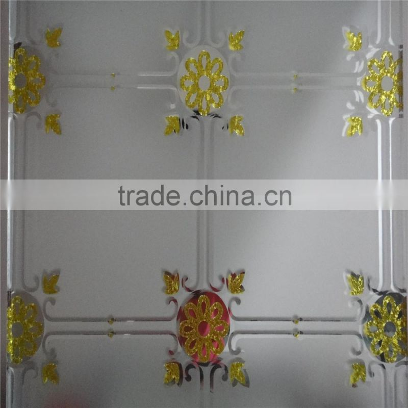 Decorative Glass Art Acid Etched Design Titanium