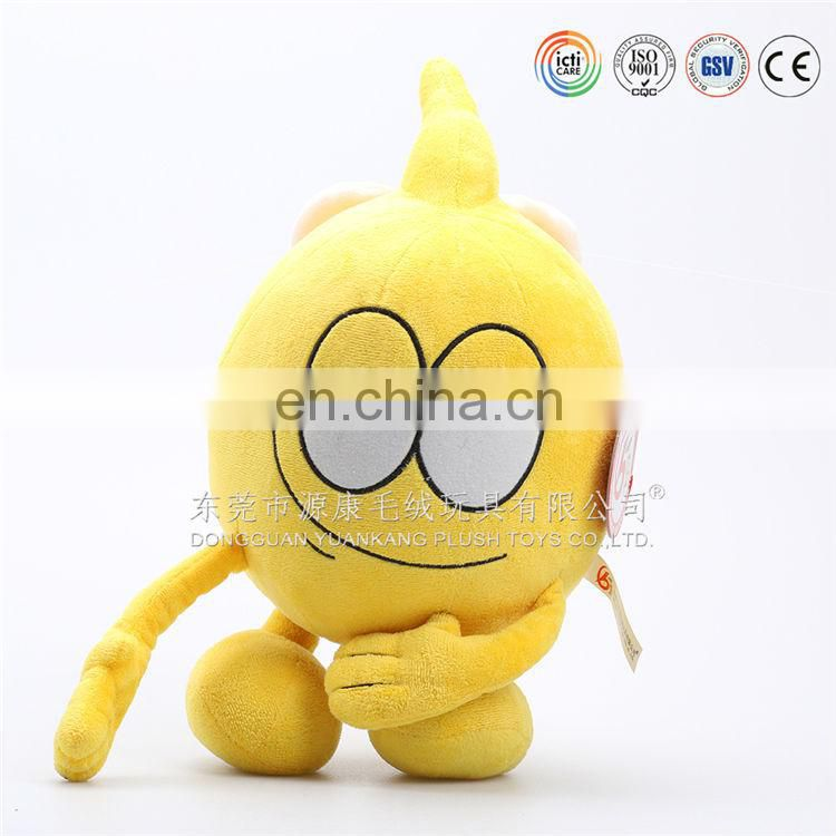 Yellow plush angry big eye toys for exporting