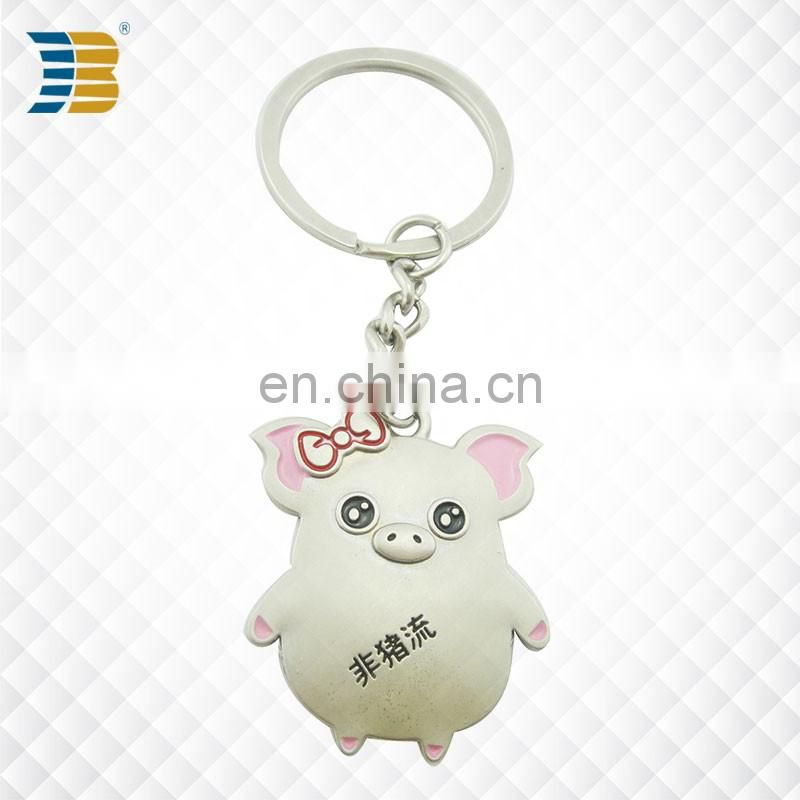cute 3D piglet custom made silver plating keychain