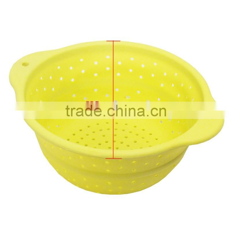 Innovative Silicone Kitchen strainer plastic round collapsible silicone colander hot selling for Amazon
