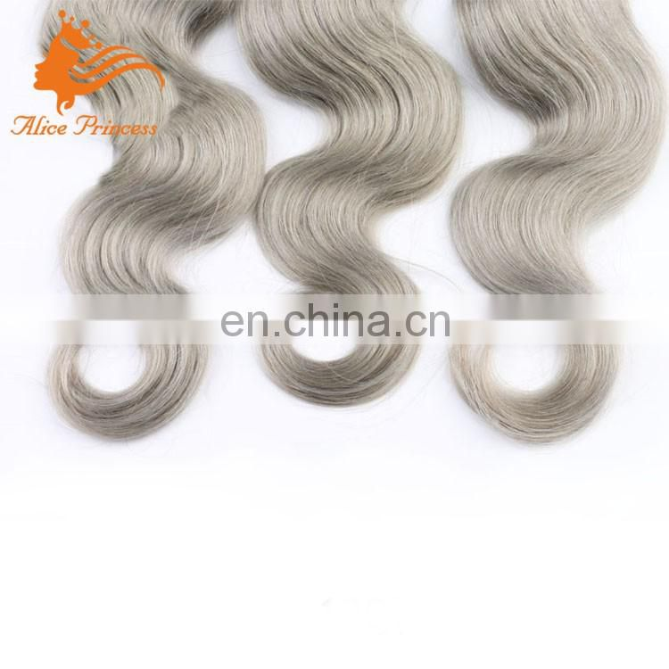 Ombre Two Tone Color 1BTGray Brazilian Remy Hair Bundles Body Wave Gray Hair Weave 100% Human Hair Dubai Online Sale