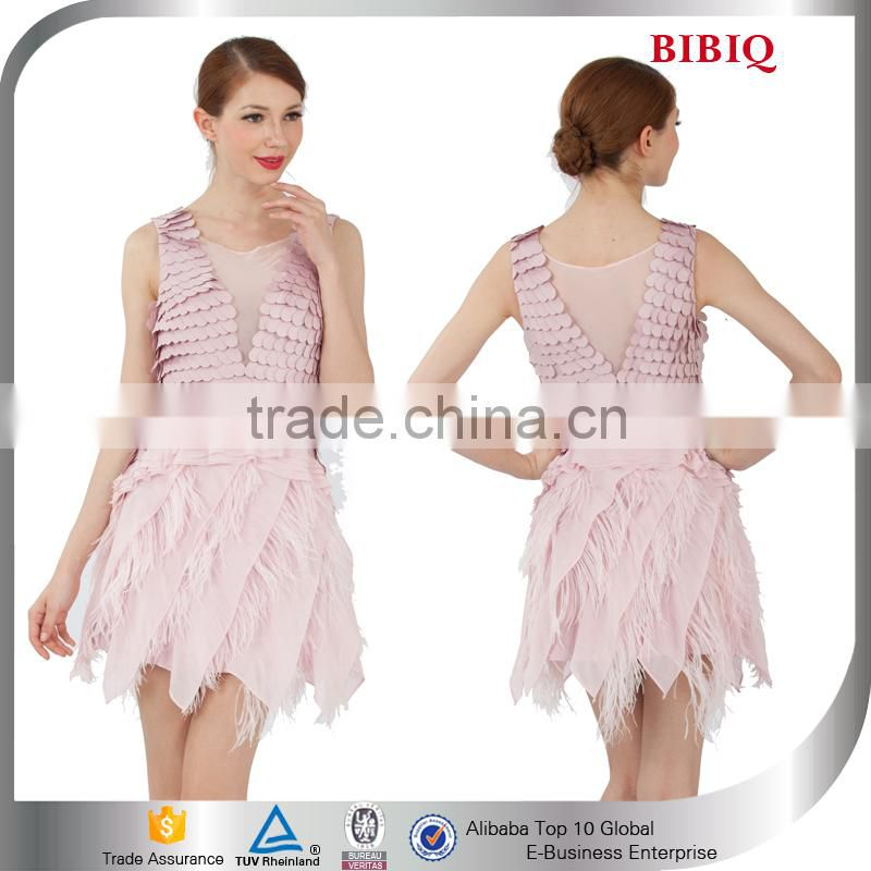 Ballroom Dance Dress Patterns Women Short Frock Ostrich Feather