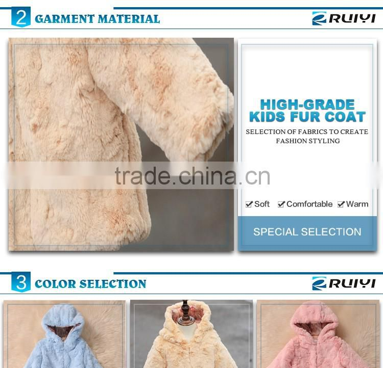 wholesale boutique kids winter faux fur coat with hood