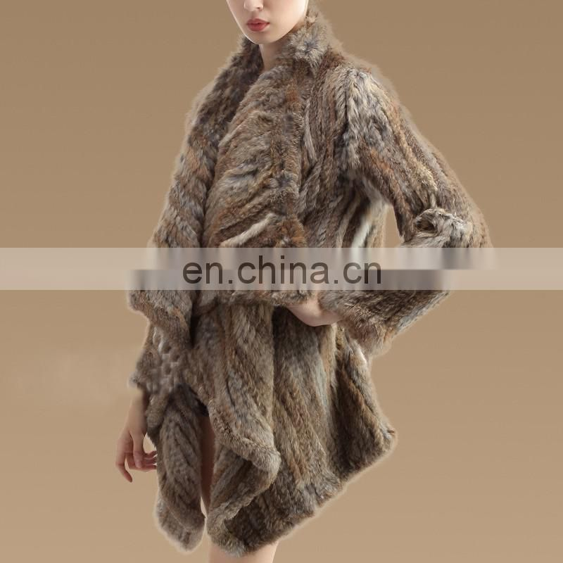 Classical pattern women fashion fur overcoat genuine rabbit fur