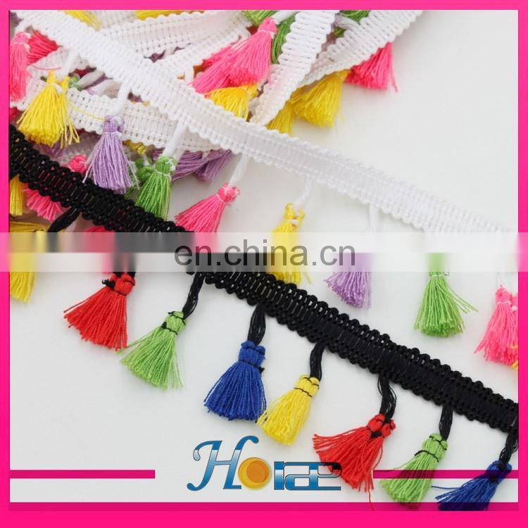 New design pompom lace trim cotton tassel fringe chain tassel lace trimming