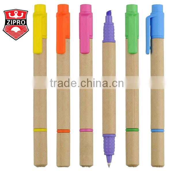 Custom eco friendly kraft paper craft paper ballpoint pen custom logo Low Cost Promotional colorful student pen