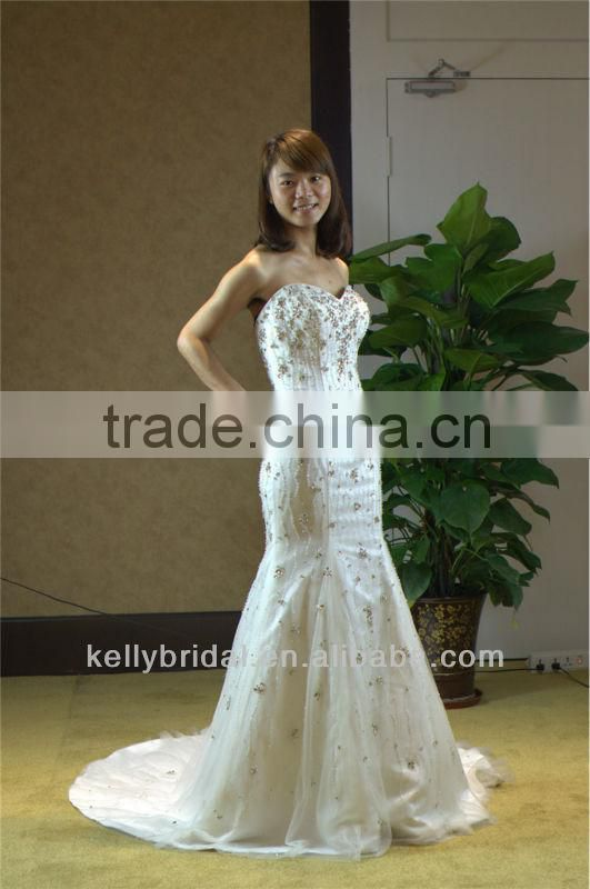 2014 Wholesale sexy sweetheart beaded mermaid wedding dress