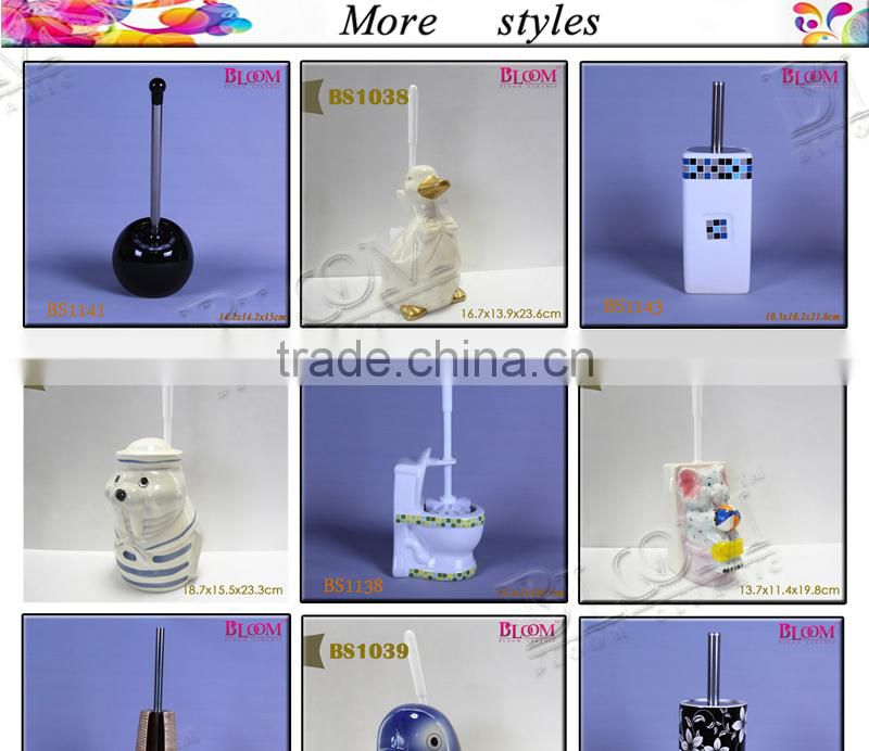 Ceramic bathroom accessories toilet brush set