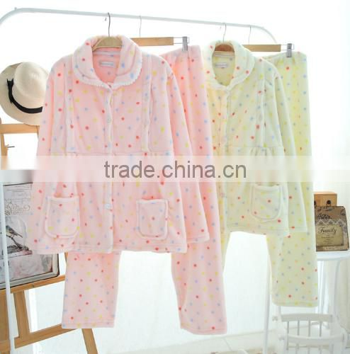 Beautiful pink fleece women pajamas sleepwear with low price home hotel