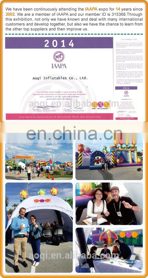 AOQI with free EN14960 certificate inflatable water obstacle course for game